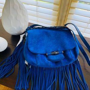 Gucci suede shoulder bag w/ fringe, bamboo details